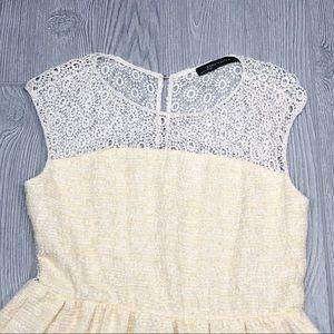 Zara Dresses - Zara   open back lace and tweed dress yellow